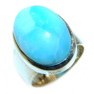 Vintage Design Natural Larimar .925 Sterling Silver handcrafted HUGE Ring s. 6
