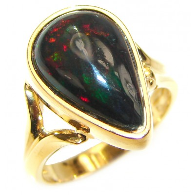 Vintage Design 2.5ctw Genuine Black Opal 18K Gold over .925 Sterling Silver handmade Ring size 6 1/4