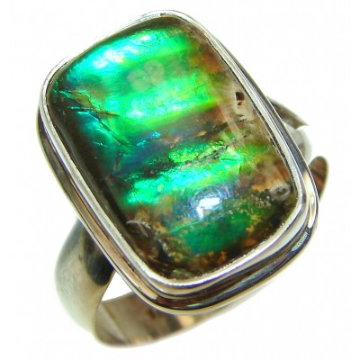 Outstanding Genuine Canadian Ammolite .925 Sterling Silver handmade ring size 8 adjustable