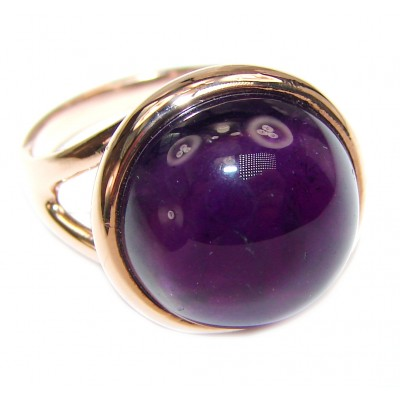 Authentic 25ctw Amethyst rose gold over .925 Sterling Silver brilliantly handcrafted ring s. 6 3/4