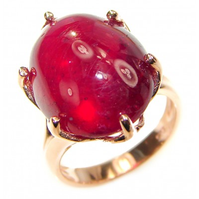 Perfect 25.8 ctw Ruby Rose Gold over .925 Sterling Silver handcrafted Statement Ring size 4 1/2