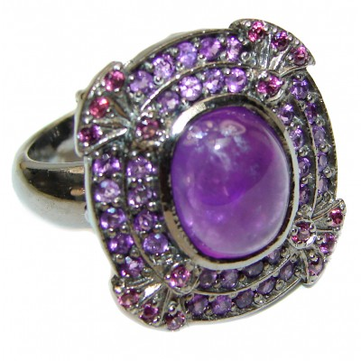 Large genuine Amethyst black rhodium over .925 Sterling Silver handcrafted Ring size 8