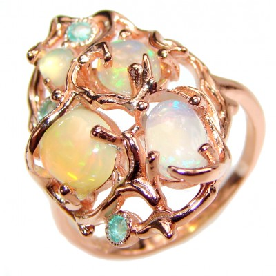 Gabriella Authentic Ethiopian Fire Opal 18K Gold over .925 Sterling Silver brilliantly handcrafted ring s. 7 1/4