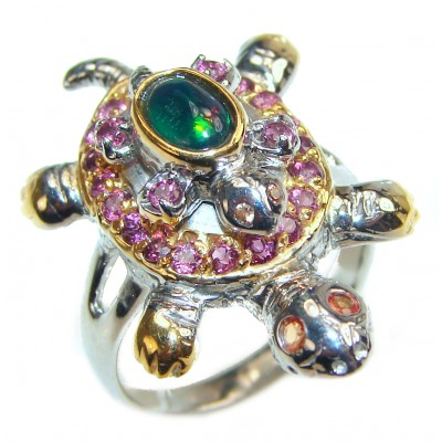 Good health and Long life Turtle 18ctw Genuine Black Opal 24K Gold over .925 Sterling Silver handmade Ring size 7