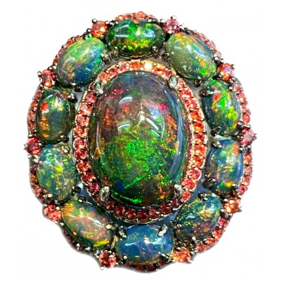 BREATHTAKING SURPRISE Genuine Black Opal Ruby .925 Sterling Silver handmade Ring size 8 1/4