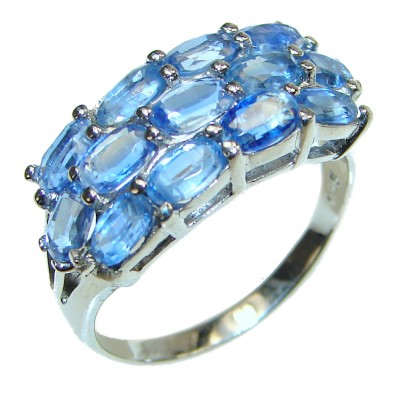 Genuine Kyanite .925 Sterling Silver handcrafted Statement Ring size 8 3/4