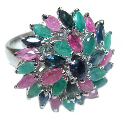 CARMEN Genuine Ruby Emerald Sapphire .925 Sterling Silver handcrafted Statement Ring size 7 1/2