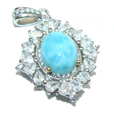 Great quality Larimar from Dominican Republic .925 Sterling Silver handmade pendant