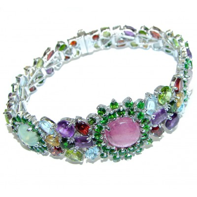 Free Spirit Luxury Authentic Ruby Prehnite Rose Quartz .925 Sterling Silver handmade Bracelet