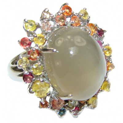Huge Amazing Golden Calcite Sapphire .925 Sterling Silver Ring s. 8