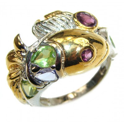Genuine Amethyst 14K Gold over .925 Sterling Silver handmade ring s. 7 1/2