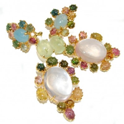 Stunning Authentic Rose Quartz Aquamarine 18K Gold over .925 Sterling Silver handmade Large earrings
