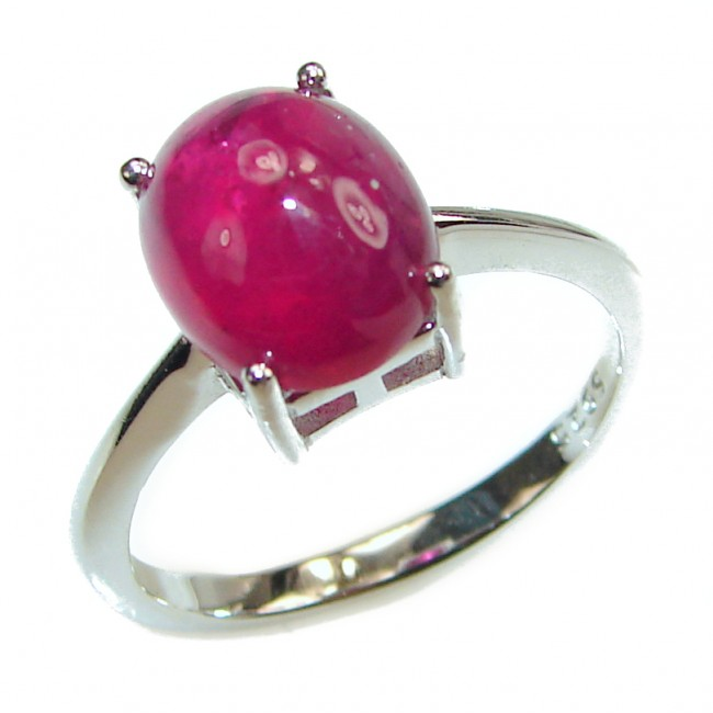 Genuine Ruby .925 Sterling Silver handmade Cocktail Ring s. 7 1/4