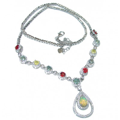 MasterPiece genuine Ethiopian Opal multicolor Sapphire .925 Sterling Silver brilliantly handcrafted necklace
