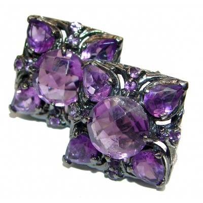 Natural Juicy Authentic Amethyst black rhodium over .925 Sterling Silver handmade earrings