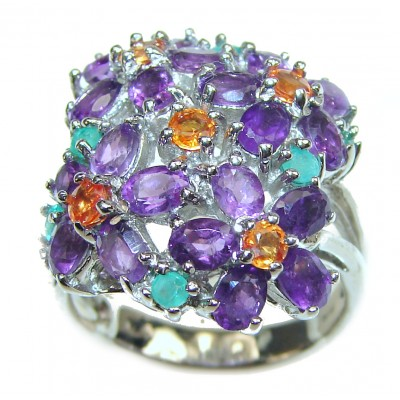Large genuine Amethyst .925 Sterling Silver handcrafted Ring size 8