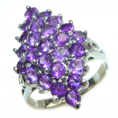 Large genuine Amethyst .925 Sterling Silver handcrafted Ring size 8 1/2