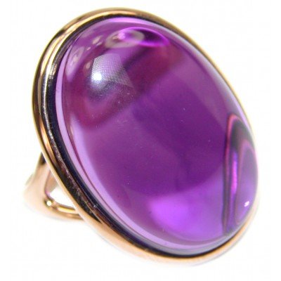 Authentic 65ctw Amethyst rose gold over .925 Sterling Silver brilliantly handcrafted ring s. 9