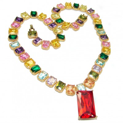 Bold Fiesta Time Cubic Zirconia Gold over Sterling Silver handmade Necklace