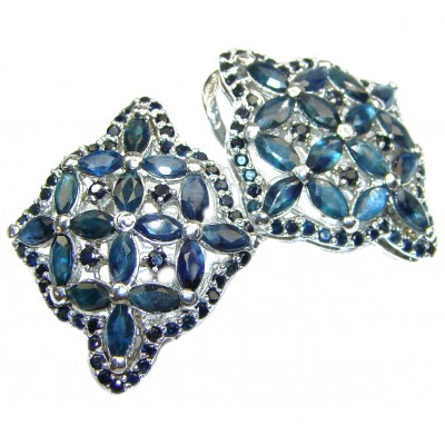 Exceptional Genuine Sapphire .925 Sterling Silver handmade earrings
