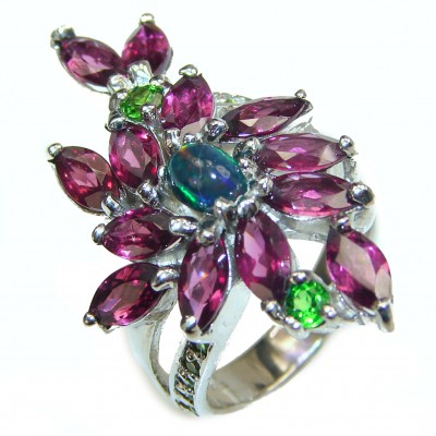 Laura Authentic Black Opal Garnet .925 Sterling Silver brilliantly handcrafted ring s. 8