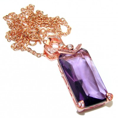 Princess Authentic Purple Topaz Rose Gold over .925 Sterling Silver necklace