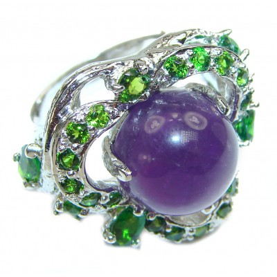 Large genuine Amethyst .925 Sterling Silver handcrafted Ring size 7 1/4