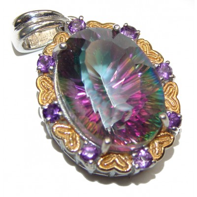 Real Treasure Rainbow Magic Topaz oxidized .925 Sterling Silver Pendant