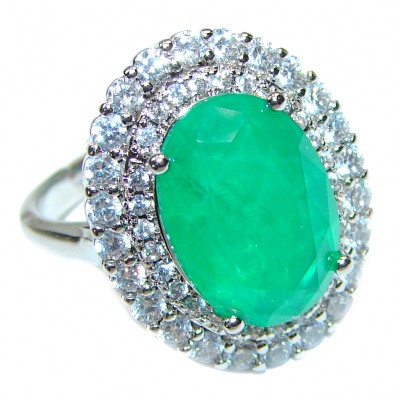 Colombian 12ct Emerald .925 Sterling Silver handcrafted Statement Ring size 6 1/4