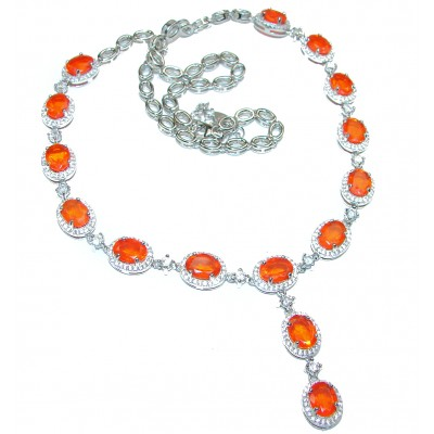 Master Piece genuine Mexican Opals .925 Sterling Silver brilliantly handcrafted necklace