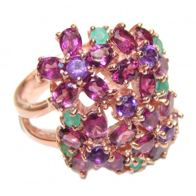 Large genuine Amethyst Emerald Gold over .925 Sterling Silver handcrafted Ring size 8