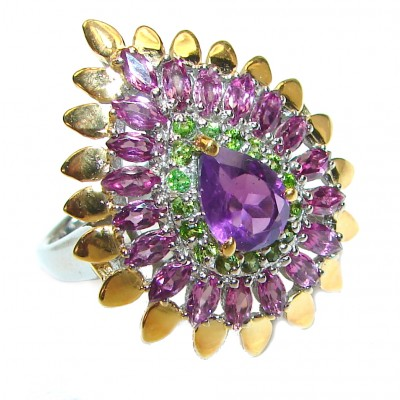 Large genuine Amethyst .925 Sterling Silver handcrafted Ring size 9