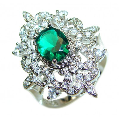 Spectacular 7.2 ctw Emerald White Topaz .925 Sterling Silver handmade Ring size 6 3/4