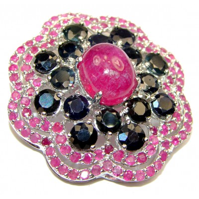Vintage style Beauty genuine Ruby .925 Sterling Silver handmade LARGE Pendant - Brooch