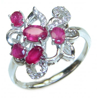 Genuine Ruby .925 Sterling Silver handcrafted Statement Ring size 8 3/4
