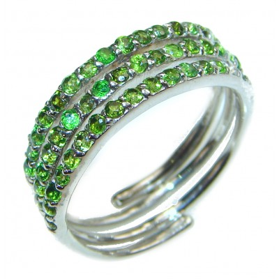 Genuine Chrome Diopside .925 Sterling Silver handcrafted Statement Ring size 6 1/4