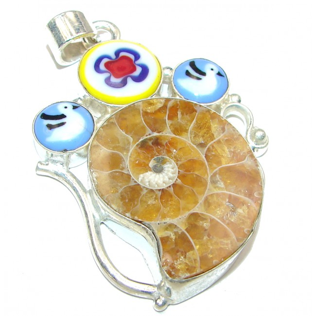 Ammonite .925 Sterling Silver handcrafted pendant