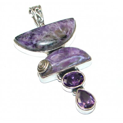 Large Natural Siberian Charoite .925 Sterling Silver handcrafted pendant