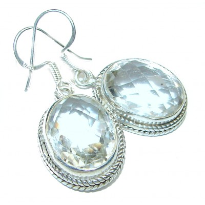Perfect genuine White Topaz .925 Sterling Silver handmade Luxury earrings