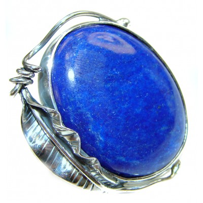 Natural afganian Lapis Lazuli .925 Sterling Silver handcrafted ring size 8 adjustable