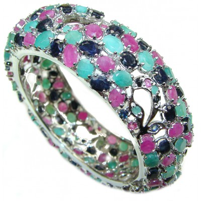 Spectacular authentic Ruby Emerald Sapphire .925 Sterling Silver handmade bangle Bracelet