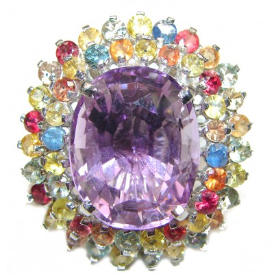Red Carpet Style genuine Pink Amethyst multicolor Sapphire .925 Sterling Silver handcrafted Ring size 8