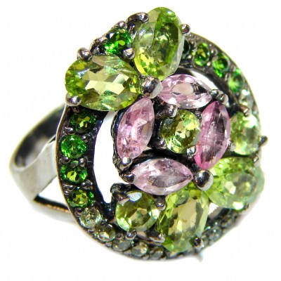 Melissa genuine Peridot Amethyst .925 Sterling Silver handcrafted Large Ring size 8 3/4