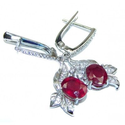 Victorian Style natural Ruby .925 Sterling Silver handcrafted earrings