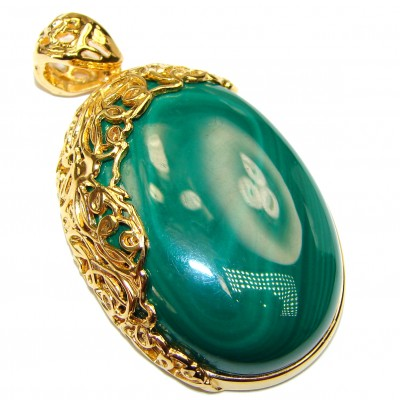 Authentic rare Malachite 18K Gold over .925 Sterling Silver handmade Pendant