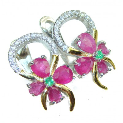 Incredible quality Ruby .925 Sterling Silver handcrafted earrings