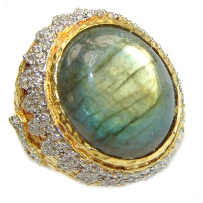 Regal Infinity Labradorite 18K Gold over .925 Sterling Silver ITALY handmade HUGE ring size 7 3/4