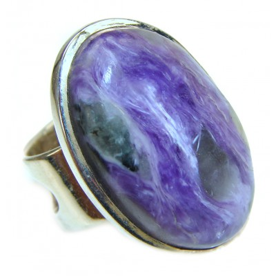 Natural Siberian Charoite .925 Sterling Silver handcrafted ring size 8