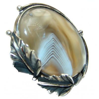 Top Quality Botswana Agate .925 Sterling Silver hancrafted Ring s. 7 adjustable