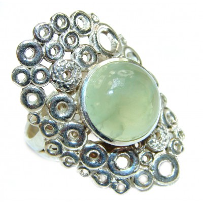 Natural Prehnite .925 Sterling Silver handmade ring s. 7 adjustable